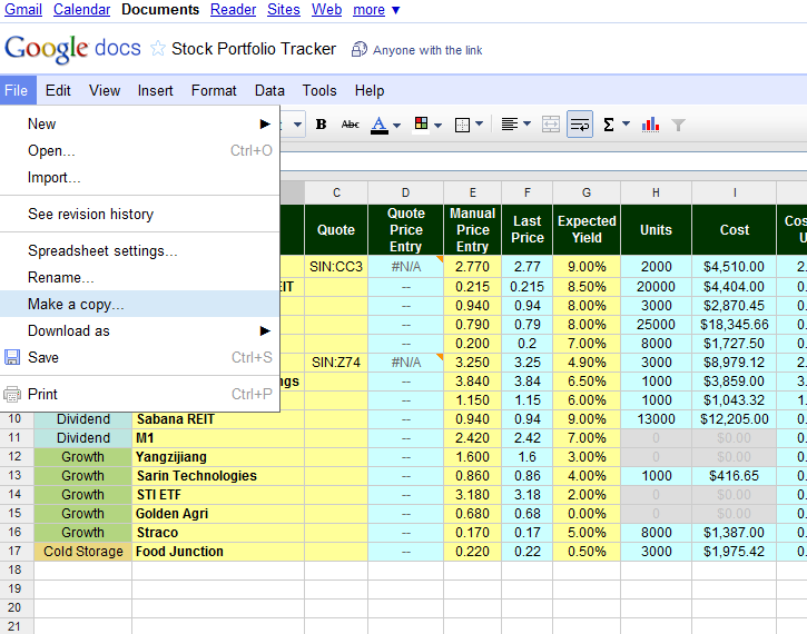 Free Online Investment Stock Portfolio Tracker Spreadsheet duplicate%20a%20copy