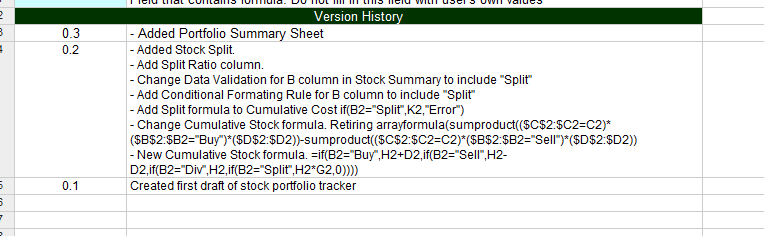 Free Online Investment Stock Portfolio Tracker Spreadsheet version%20history